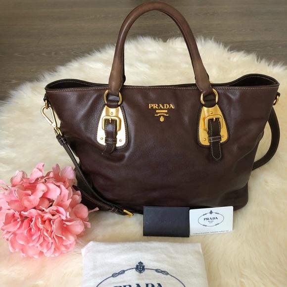 e99eb03d PRADA Women's Soft Calf Leather Tote Bag Purse